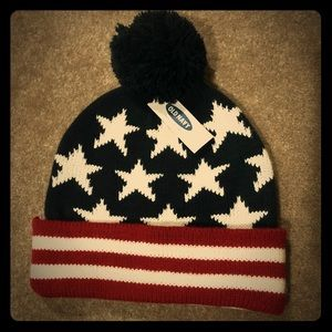 Old Navy American Flag Beanie with Poof